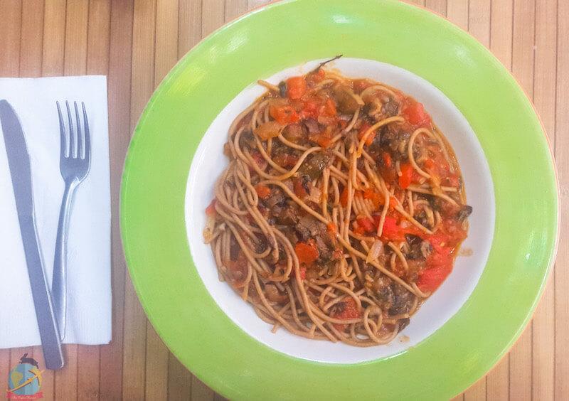Pasta with Bolognese of lentils, Rest. 100% Natural, Playa del Carmen